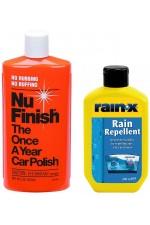 Rain-x за Шофиране в Дъжд + Nu Finish Течна Запечатваща Полир Паста